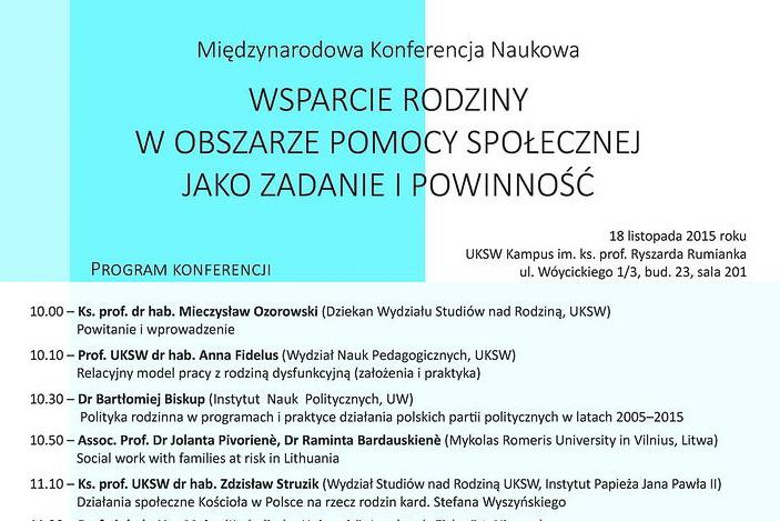 """Międzynarodowa konferencja naukowa """"Wsparcie rodziny wobszarze pomocy społecznej jako zadanie ipowinność"""""""