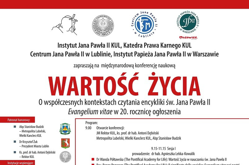 Międzynarodowa konferencja naukowa Wartość życia… – zaproszenie