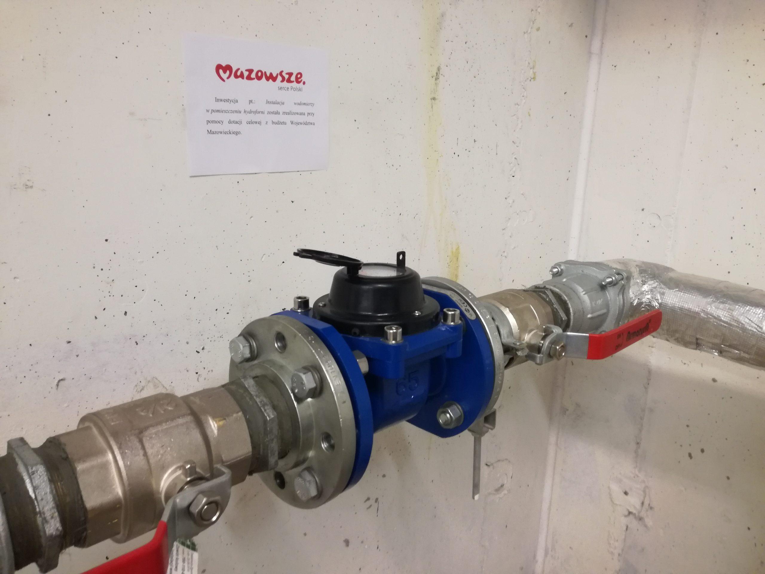 Zakończenie zadania: Instalacja wodomierzy wpomieszczeniu hydroforni