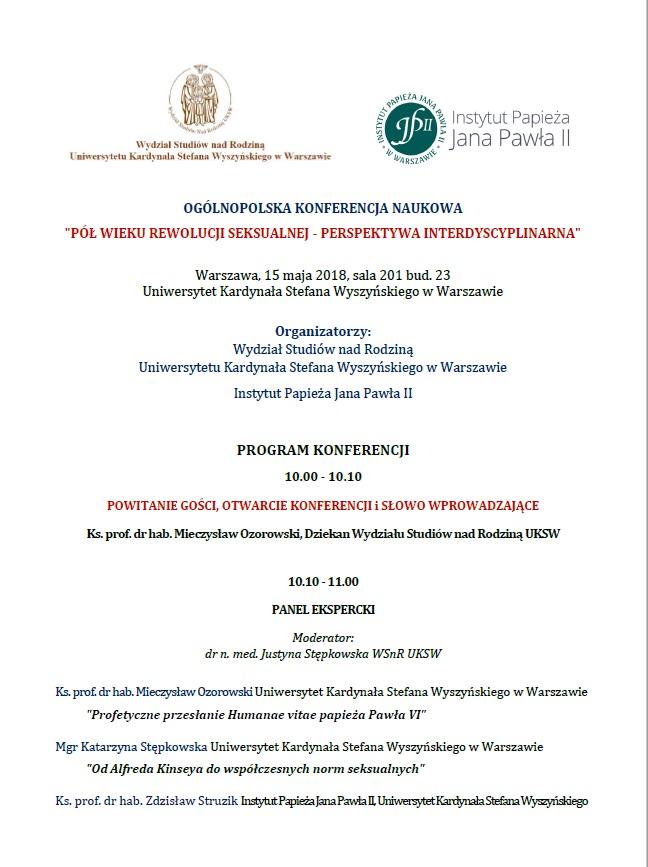 """Konferencja naukowa """"Pół wieku rewolucji seksualnej – perspektywa interdyscyplinarna"""""""