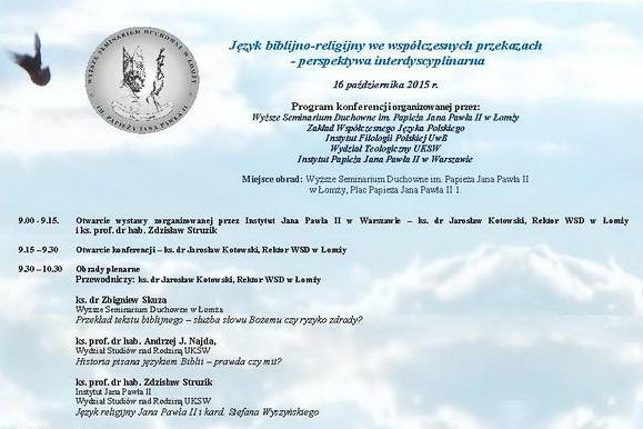 Konferencja naukowa – Język biblijno-religijny wewspółczesnych przekazach…