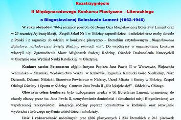 Rozstrzygnięcie konkursu oBłogosławionej Bolesławie Lament