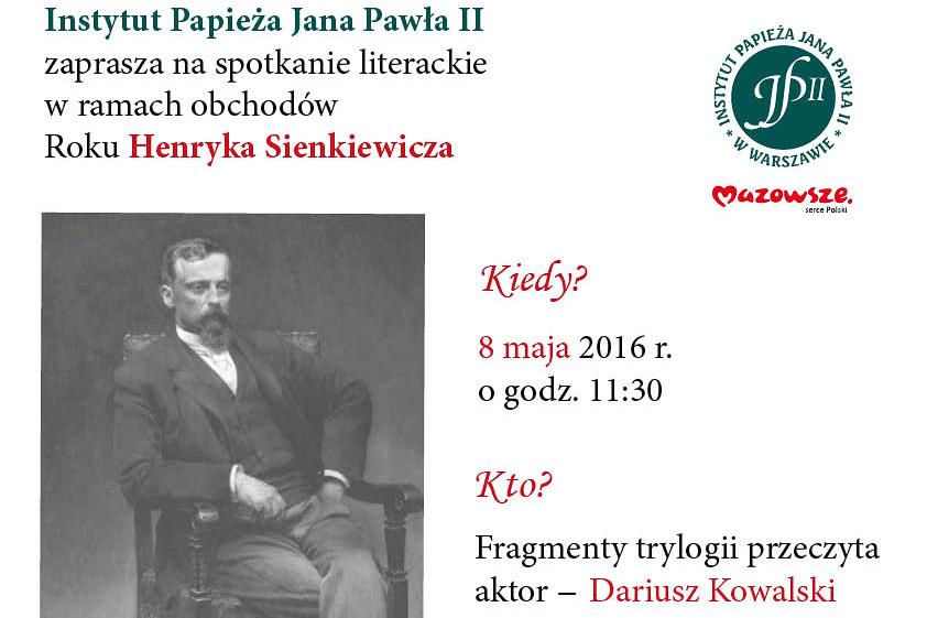 Rok Henryka Sienkiewicza – spotkanie literackie – zaproszenie