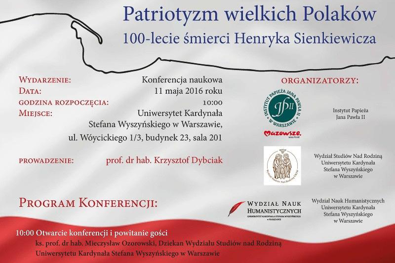 """Konferencja naukowa """"Patriotyzm wielkich Polaków"""" – zaproszenie"""